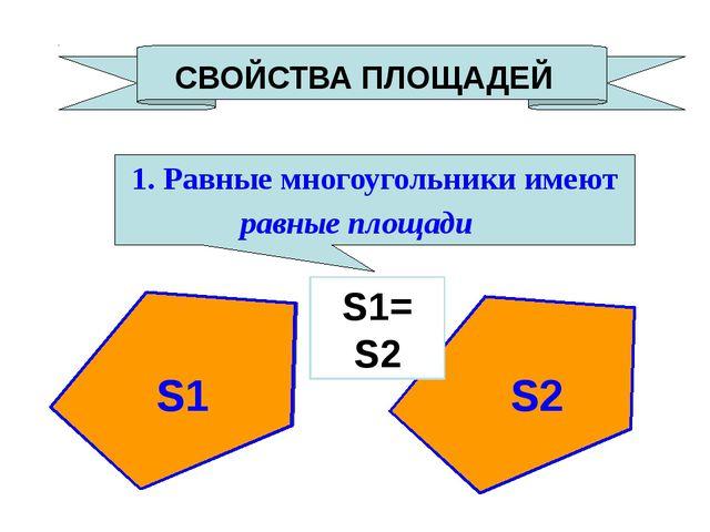 СВОЙСТВА ПЛОЩАДЕЙ 1. Равные многоугольники имеют равные площади S1= S2 S1 S2