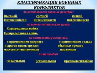 КЛАССИФИКАЦИЯ ВОЕННЫХ КОНФЛИКТОВ по интенсивности военных действий : Высокой