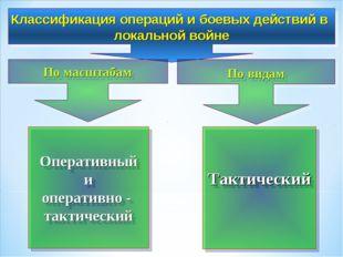 Классификация операций и боевых действий в локальной войне По масштабам По в