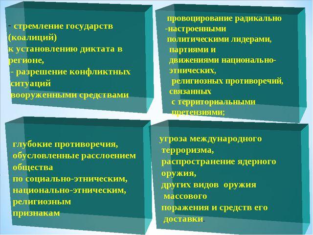 стремление государств (коалиций) к установлению диктата в регионе, - разреше...