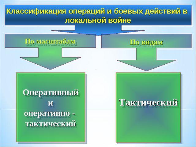 Классификация операций и боевых действий в локальной войне По масштабам По в...