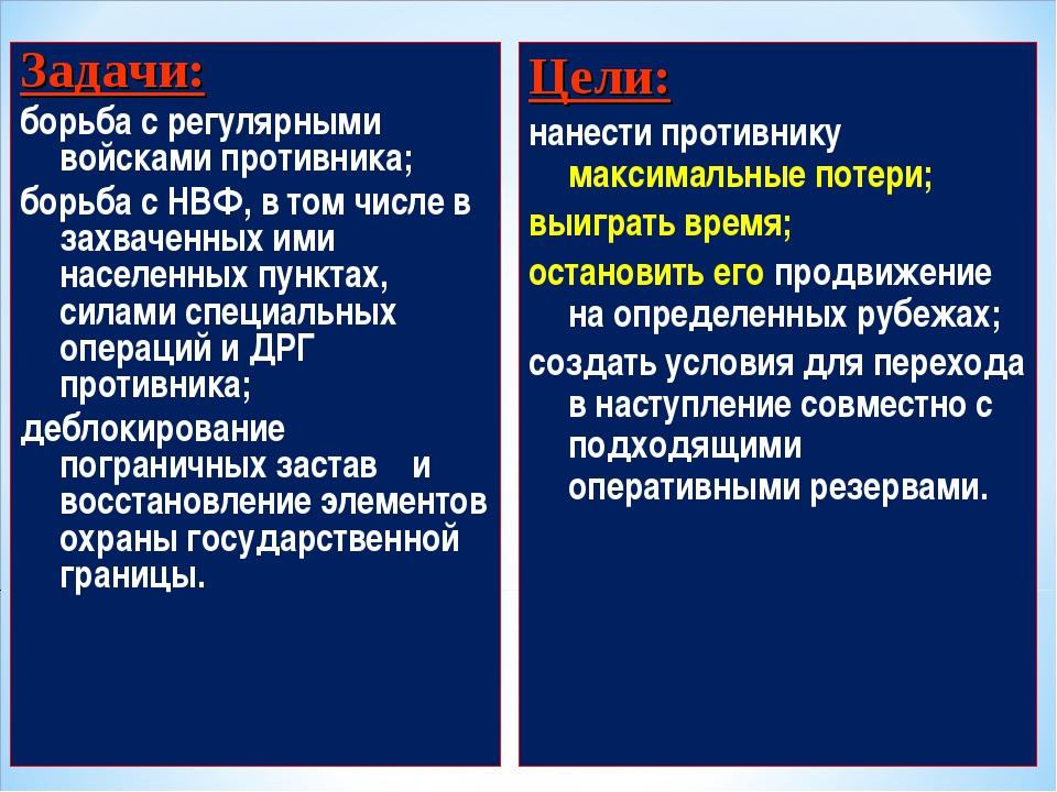 Задачи: борьба с регулярными войсками противника; борьба с НВФ, в том числе в...