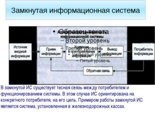Замкнутая информационная система В замкнутой ИС существует тесная связь между