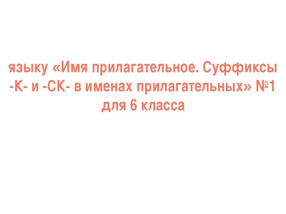 языку «Имя прилагательное. Суффиксы -К- и -СК- в именах прилагательных» №1 дл...