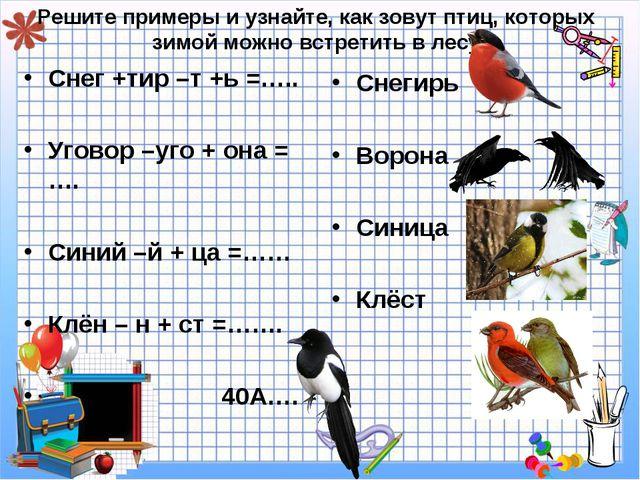 Решите примеры и узнайте, как зовут птиц, которых зимой можно встретить в лес...
