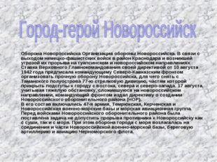Оборона Новороссийска Организация обороны Новороссийска. В связи с выходом н