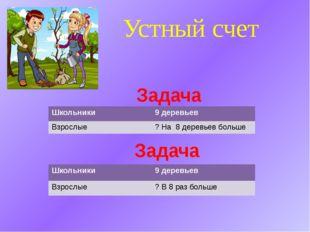 Устный счет Задача Задача Школьники 9 деревьев Взрослые ? На 8 деревьев больш