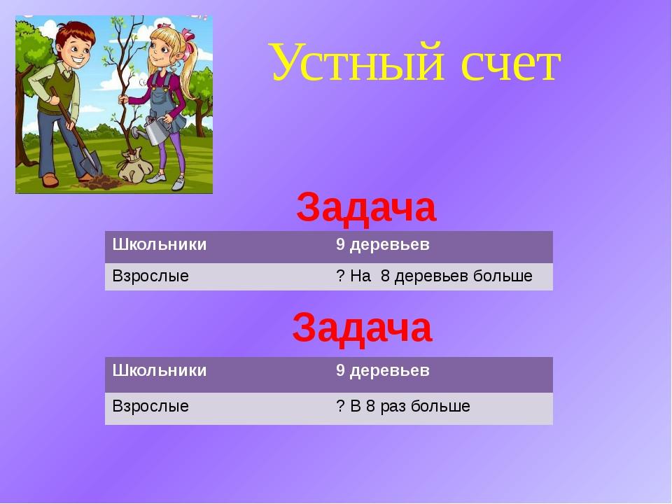 Устный счет Задача Задача Школьники 9 деревьев Взрослые ? На 8 деревьев больш...