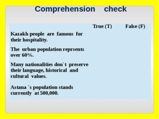 Comprehension check True (T) False (F) Kazakh people are famous for their ho