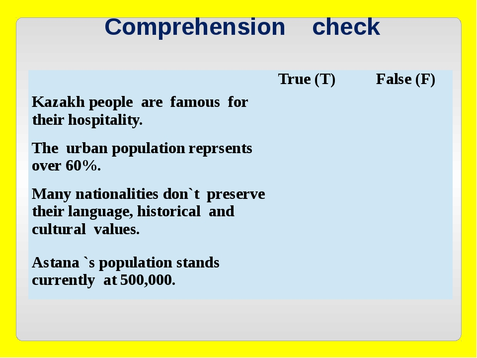 Comprehension check True (T) False (F) Kazakh people are famous for their ho...
