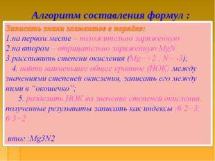 Алгоритм составления формул :