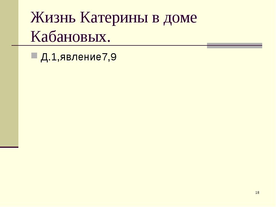 Жизнь Катерины в доме Кабановых. Д.1,явление7,9 *