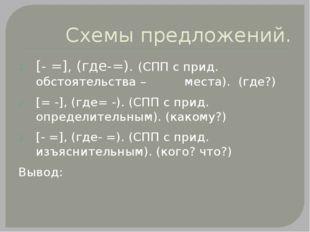 Схемы предложений. [- =], (где-=). (СПП с прид. обстоятельства – места). (где