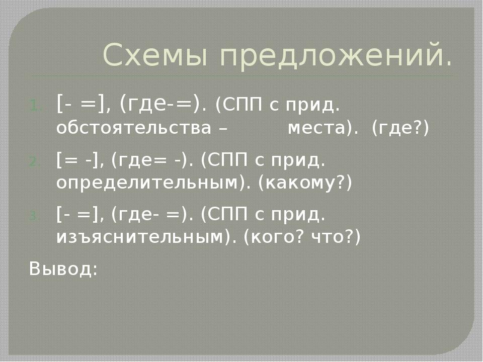 Схемы предложений. [- =], (где-=). (СПП с прид. обстоятельства – места). (где...