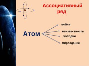 Ассоциативный ряд Атом война неизвестность холодно мироздание