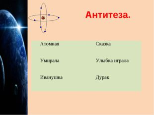 Антитеза. АтомнаяСказка УмиралаУлыбка играла ИванушкаДурак