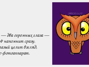 Филин — два огромных глаза — Букву Ф напомнит сразу. Лупоглазый целит взгляд,