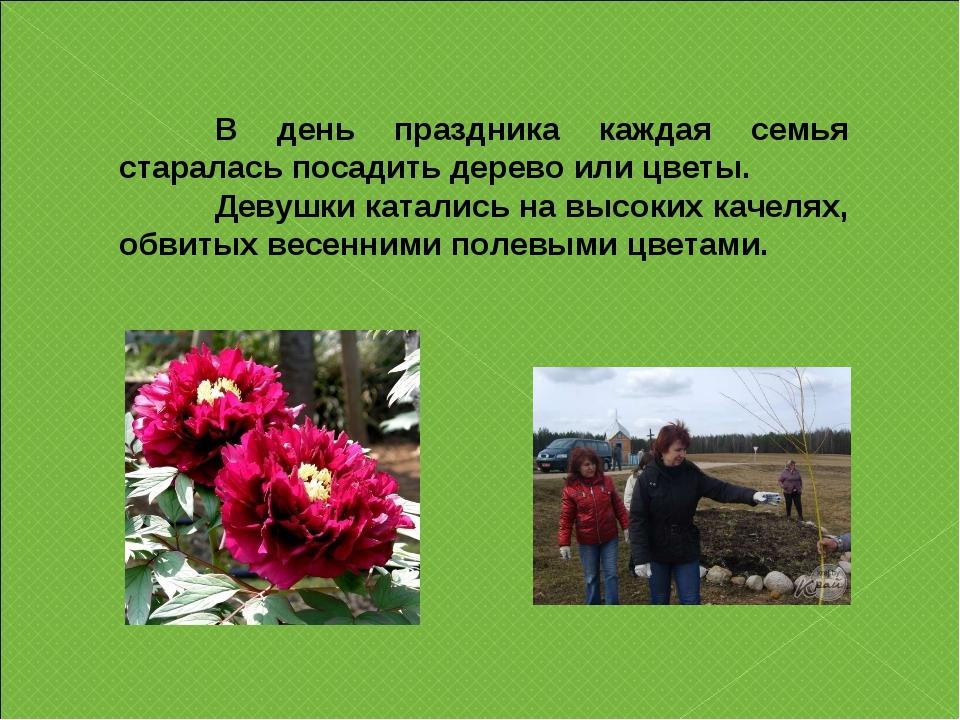 В день праздника каждая семья старалась посадить дерево или цветы. Девушки...