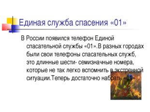 Единая служба спасения «01» В России появился телефон Единой спасательной слу