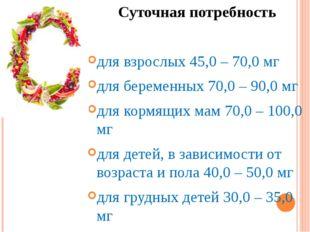 Суточная потребность для взрослых 45,0 – 70,0 мг для беременных 70,0 – 90,0 м