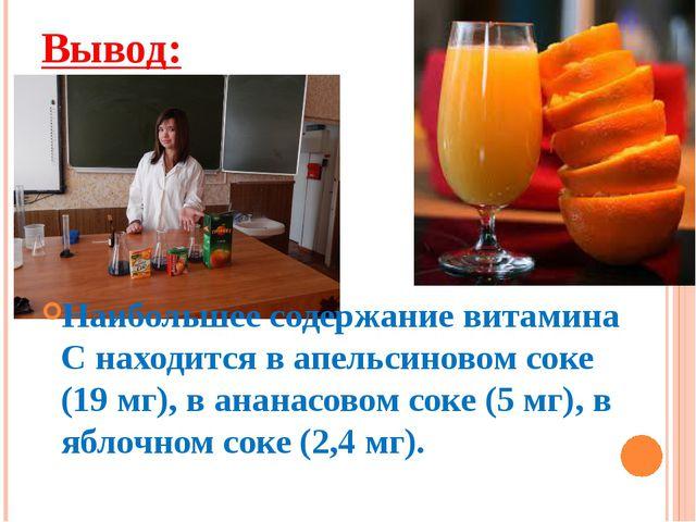 Вывод: Наибольшее содержание витамина С находится в апельсиновом соке (19 мг)...