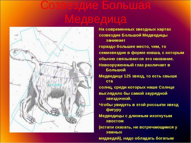 Созвездие Большая Медведица На современных звездных картах созвездие Большой...