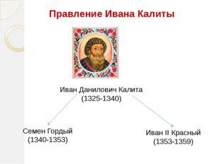 Правление Ивана Калиты Иван Данилович Калита (1325-1340) Семен Гордый (1340-1