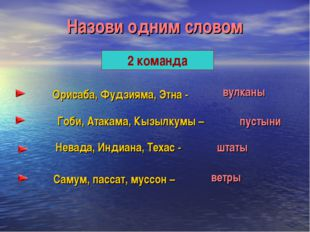 Назови одним словом 2 команда Орисаба, Фудзияма, Этна - Гоби, Атакама, Кызылк