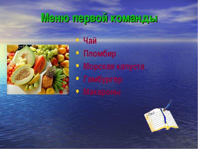 Меню первой команды Чай Пломбир Морская капуста Гамбургер Макароны