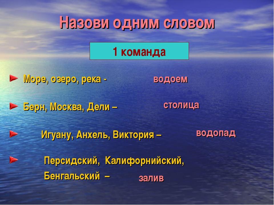 Назови одним словом 1 команда Море, озеро, река - Берн, Москва, Дели – Игуану...