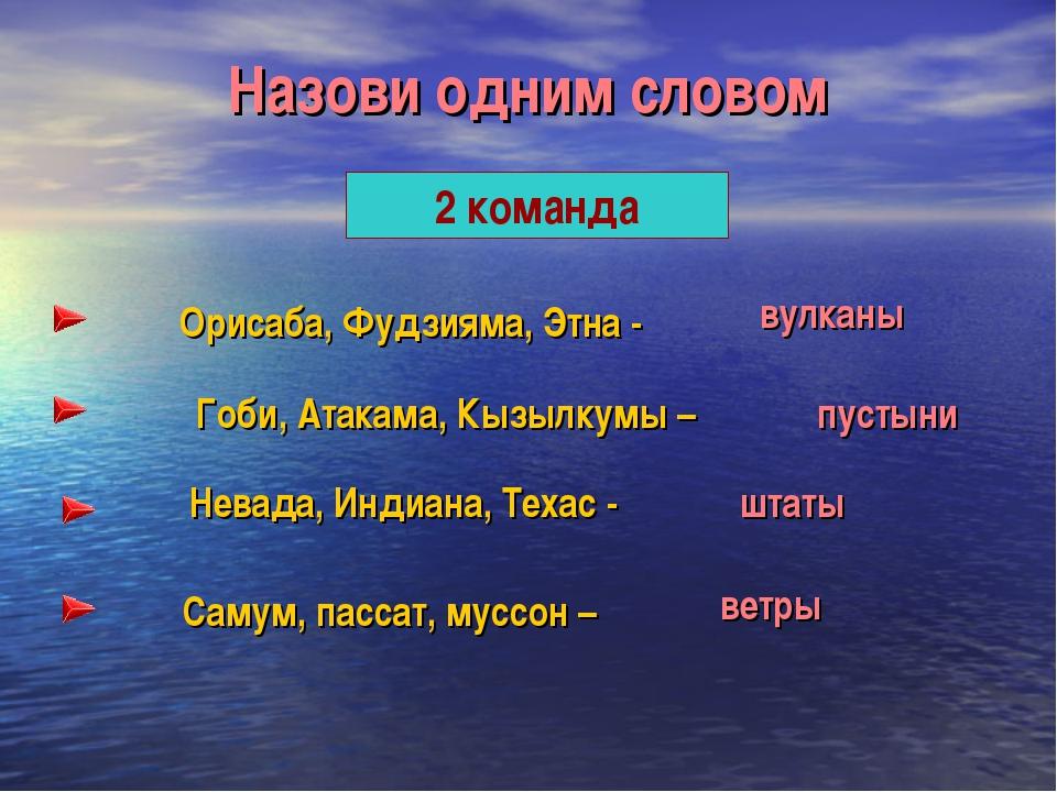 Назови одним словом 2 команда Орисаба, Фудзияма, Этна - Гоби, Атакама, Кызылк...