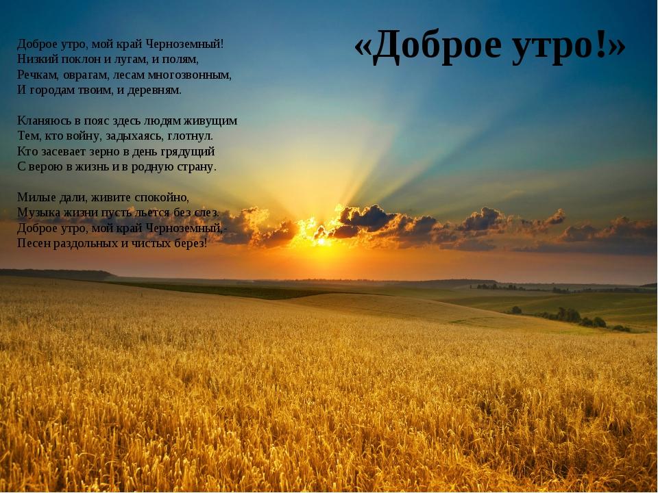 «Доброе утро!» Доброе утро, мой край Черноземный! Низкий поклон и лугам, и по...