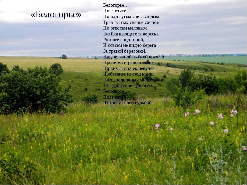 «Белогорье» Белогорье… Поле отчее. По-над лугом светлый дым. Трав густых сиян...