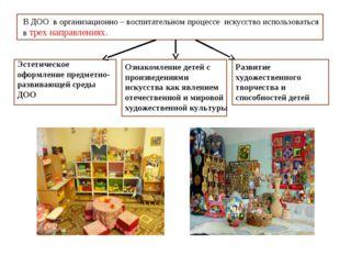 В ДОО в организационно – воспитательном процессе искусство использоваться в т