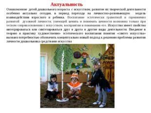 Актуальность Ознакомление детей дошкольного возраста с искусством, развитие