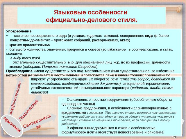 Языковые особенности официально-делового стиля. Употребление глаголов несове...