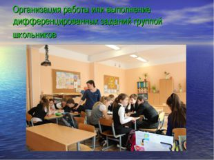 Организация работы или выполнение дифференцированных заданий группой школьни