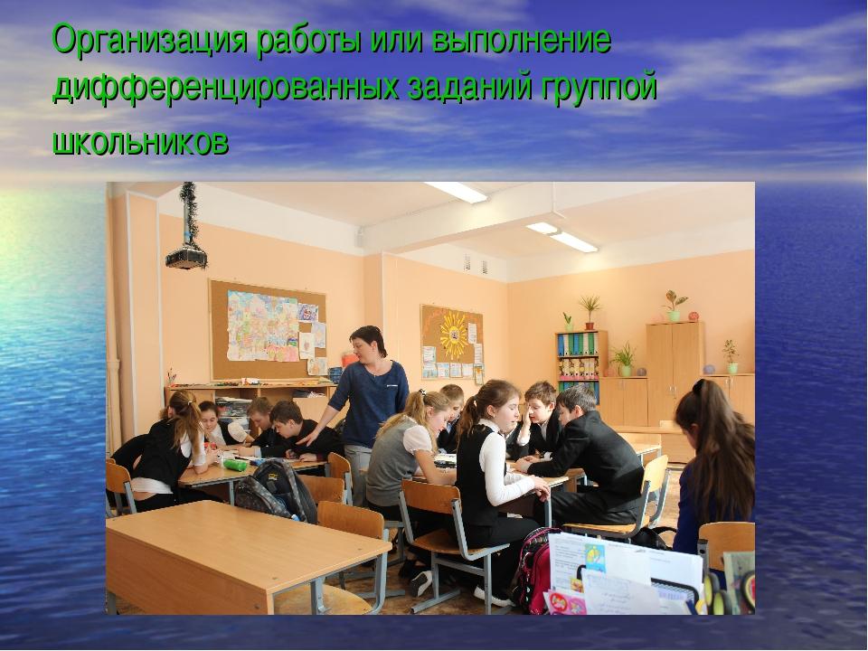 Организация работы или выполнение дифференцированных заданий группой школьни...