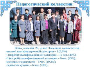 Всего учителей: 29, из них 3 внешних совместителя; высшей квалификационной