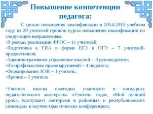 С целью повышения квалификации в 2014-2015 учебном году из 29 учителей прошл
