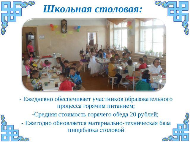 Школьная столовая: - Ежедневно обеспечивает участников образовательного проце...