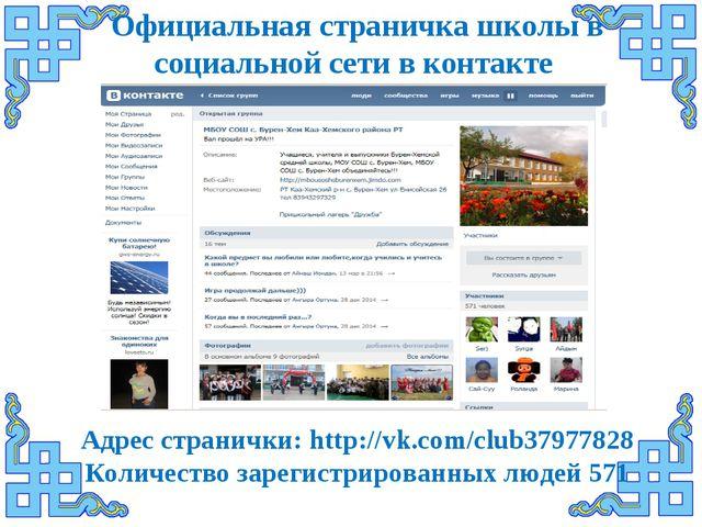 Официальная страничка школы в социальной сети в контакте Адрес странички: htt...