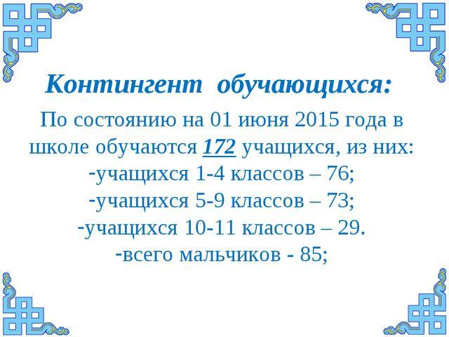 По состоянию на 01 июня 2015 года в школе обучаются 172 учащихся, из них: уча...