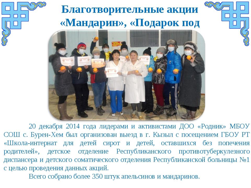 Благотворительные акции «Мандарин», «Подарок под елку» 20 декабря 2014 года...
