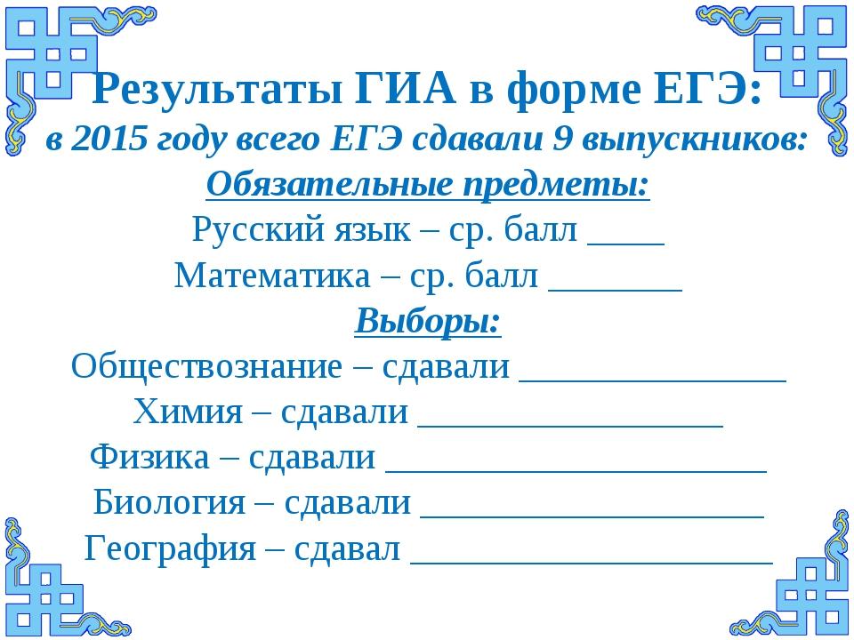 Результаты ГИА в форме ЕГЭ: в 2015 году всего ЕГЭ сдавали 9 выпускников: Обяз...