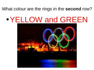 What colour are the rings in the second row? YELLOW and GREEN