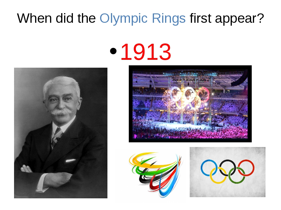 When did the Olympic Rings first appear? 1913