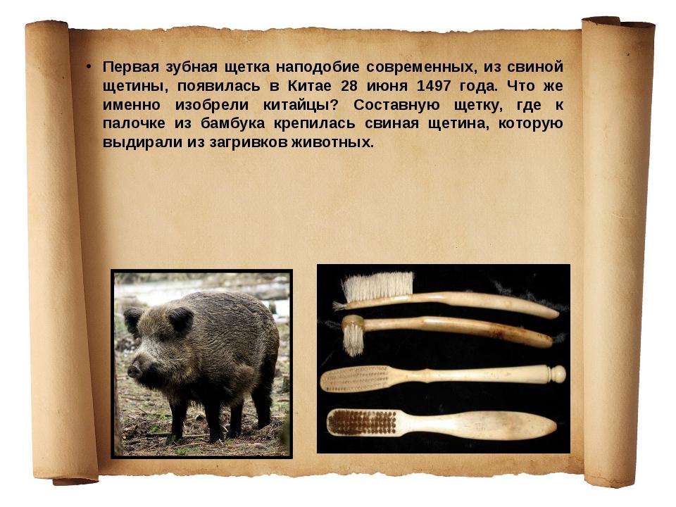 Первая зубная щетка наподобие современных, из свиной щетины, появилась в Кита...
