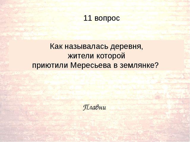 Плавни Как называлась деревня, жители которой приютили Мересьева в землянке?...