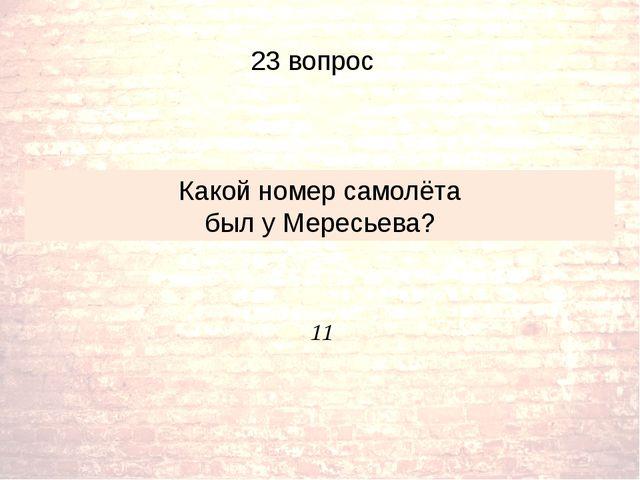11 Какой номер самолёта был у Мересьева? 23 вопрос